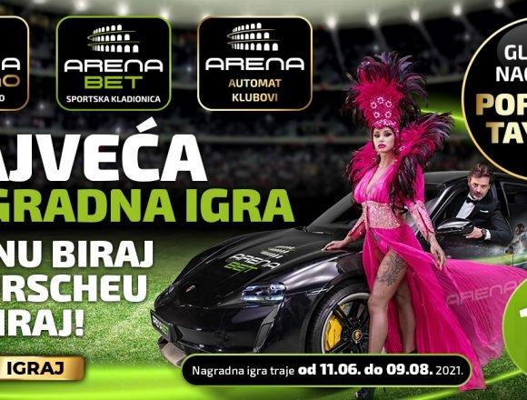 POČELA JE NAGRADNA IGRA GODINE Odigrajte na Arena Casino i Arena Bet i osvojite novi Porsche Taycan